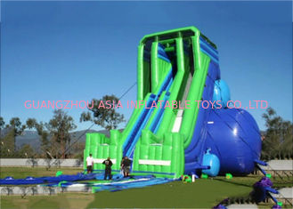 Trung Quốc Green And Blue  Dry and Wet Slides , Inflatable Drop Kick Slide With Double Lanes For Resort And Event nhà máy sản xuất