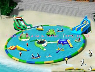 Commercial Inflatable Water Park / Pool With Slide for rental