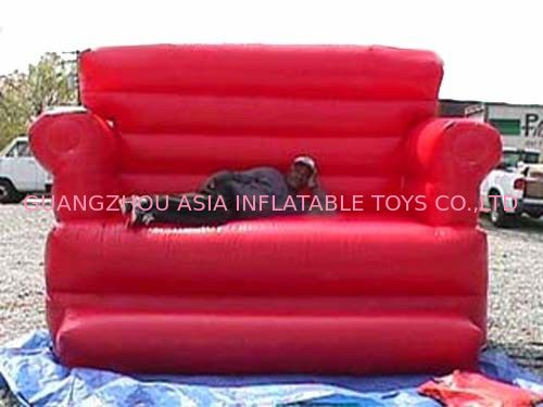 Red Durable Pvc Tarpaulin Inflatable Sofa Air Bed Furniture , Inflatable Couch Furniture nhà cung cấp
